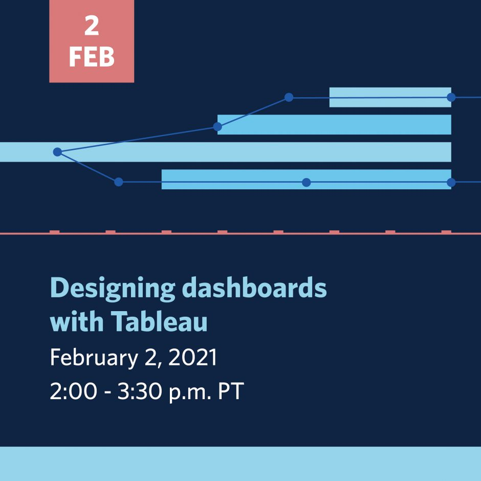 Designing dashboards with Tableau | Feb 2, 2021 | 2-330 pm | click to register